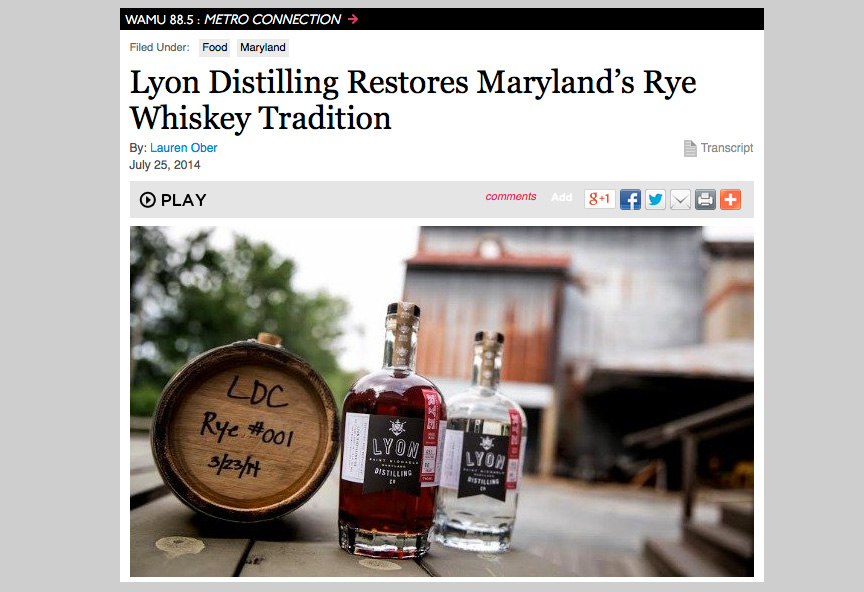 LYON DISTILLING RESTORES MARYLAND RYE WHSIKEY TRADITION
